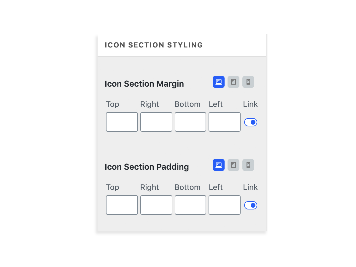 icon section styling