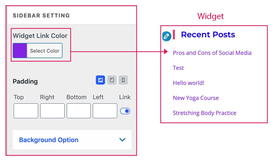 widget setting